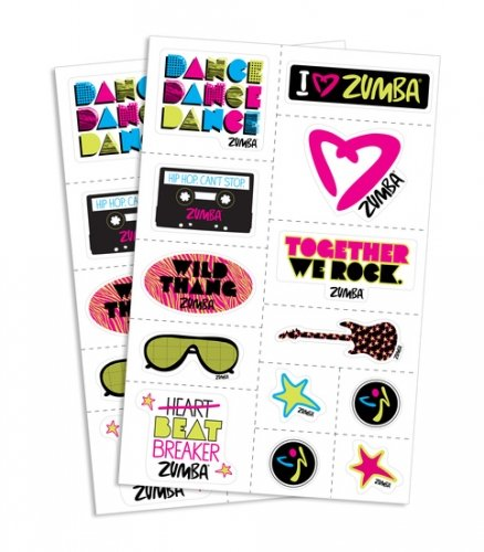 Zumba Fitness Together We Rock Stickers! 1 Sheet of 13 Stickers!