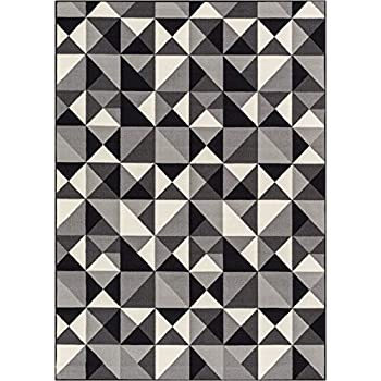 "Well Woven Non-Skid/Slip Rubber Back Antibacterial 8x10 (710"" x 910"") Area Rug Lex Casual Geo Grey Black White Geometric Modern Thin Low Pile Machine Washable Indoor Outdoor Kitchen Hallway Entry"