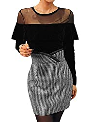 Woman Flouncing Panel Top w Houndstooth Pattern Skirt