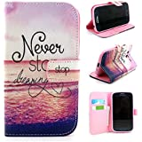 I9060 Case,I9082 Case,Galaxy Grand Neo I9060 Case,IVY [ Never Stop Dreaming ] - Synthetic Leather Flip With Support Stents Wallet Card TPU Case Cover Skin For Samsung Galaxy Grand Neo I9060 / Samsung Galaxy Grand Duos i9082