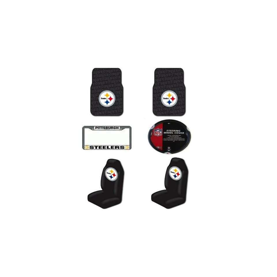 NFL Pittsburgh Steelers 6 PC Auto Accessories Combo Kit   Rubber Floor Mats, Seat Covers, Steering Wheel Cover and Chrome License Plate Frame Automotive