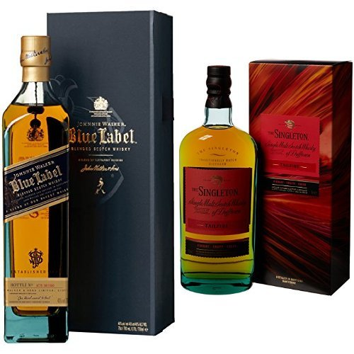 discount duty free Johnnie Walker Blue Label Blended Scotch Whisky and Singleton Tailfire Single Malt Scotch Whisky