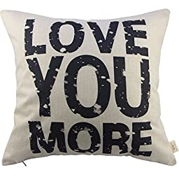 Generic Love You More Square About Cotton Throw Pillow Cushion Cover, 17.5\