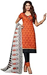 AVC-Colourful Women's Chanderi Unstitched Salwar Suit (1003, Orange)