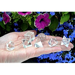 7 Pcs Crystal Quartz Platonic Solids Sacred Geometry Merkaba Star Healing Set