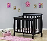 Dream On Me 3 in 1 Aden Convertible Mini Crib, Black