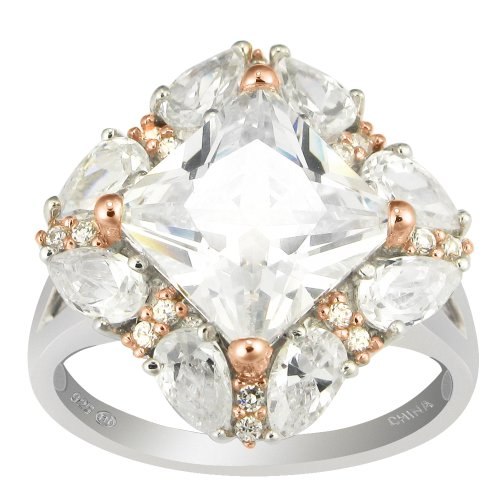 Two-Tone Sterling Silver and Rose Gold Over Sterling Silver Clear Cubic Zirconia Ring, (8.83 cttw), Size 7