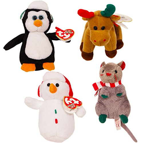 ty-beanie-babies-christmas-set-of-4-plush-holiday-ornaments-snowman-penguin-reindeer-and-mouse
