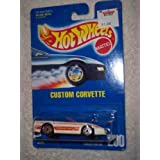#200 Custom Corvette White Large Letters Collectible Collector Car Mattel Hot Wheels
