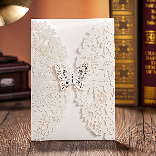 Wishmade 50x White Laser Cut Lace Wedding Invitations Cards with Butterfly Hollow Flowers Cardstock for Engagement Invitation Bridal Shower Baby Shower Birthday Party Quinceanera(Set of 50pcs)