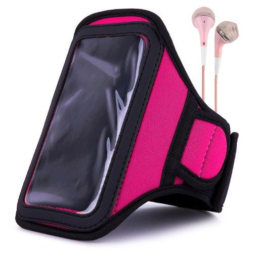 Vangoddy Armband - Pink Magenta Neoprene Sweat-Proof W/ Key & Id Card Pouch For Htc Desire 4G Lte Smartphone + Pink Handsfree Microphone Headphones