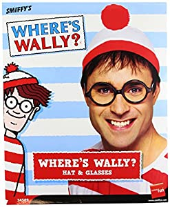 Smiffy's Where's Wally Instant Kit with Hat and Glasses