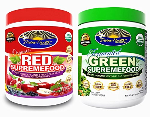 Divine Health Twin Pack, One Green Supremefood(30 Day Supply)-7.40 oz + One Red Supremefood, 30 Count-6.3oz (Health Pack compare prices)