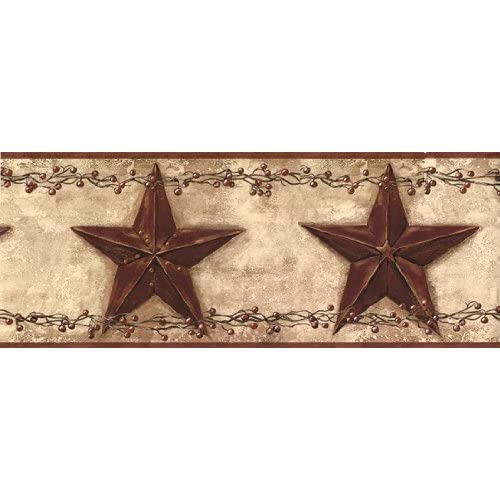 Wall Border Country Stars Burgundy Home & Kitchen