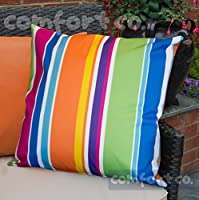 Waterproof Garden Cushions for Chairs - Fibre Filled Cushions for Seats and Benches - Colourful Outdoor Cushion (2, Technicolour Stripe) by Comfort Co®