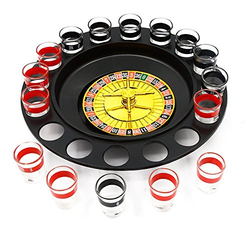 Jieweixin® Russian Roulette Drinking Game Family or Frat Party Spin Roulette Adult Drinking Games (2 Balls and 16 Glasses)