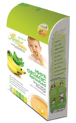 Xongdur Baby Health Fully Delicious Organic Cereal 100 Organic Sprouted Brown Rice Porridge with Banana and Spinach 120g 20g X 6 Sachets for Baby 6 Months Stage 1