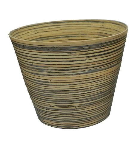 Listo Natural Elegance Bamboo Planter, 14-Inch, Bamboo Black