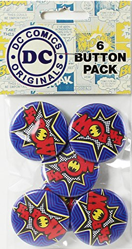 "Button set DC Comics Batman Pow 6 Individual Loose Buttons, 1.25"" - 1"