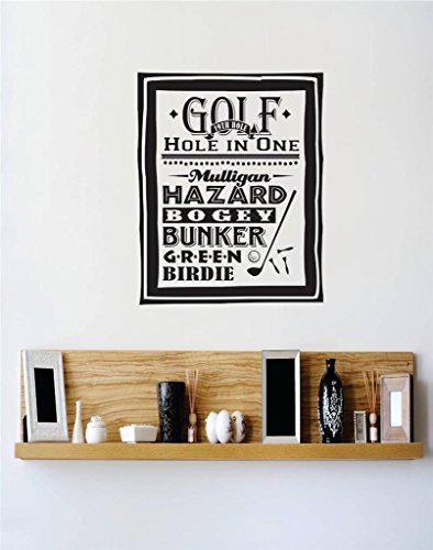 Design with Vinyl 3 C 2227 Decor Item Golf Hole in One Hazard Bogey Bunker Green Birdie Sports Image Quote Wall Decal Sticker, 20 x 30-Inch, Black