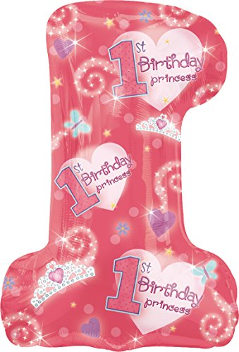 "Anagram International 1st Birthday Princess Girl Balloon, 28 by 19"", Pink"