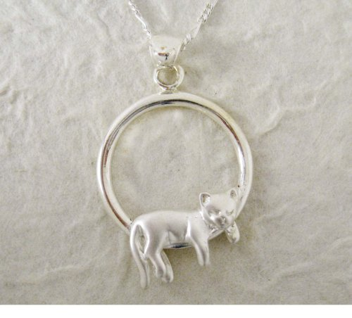 Sterling Silver Napping Cat Necklace, 20 inches