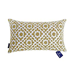 Aitliving Pillows Cover Mina Decorative Lumbar Cushion Cover Yellow Ochre Trellis Throw Pillow Case Cotton Canvas 1 pc 12x20 inches(30x50cm)