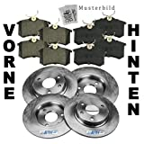 4x Brake discs + Brake pads front and rear axle MITSUBISHI CARISMA DA +SALOON 1.8 +16V 1997-00; MITSUBISHI SPACE STAR 1.3 1.6 1.8 1.9 +16V +DI FROM 1998-; VOLVO S40 I 1 1.6 1.8 1.9 2.0 +TD 1995-97; VOLVO V40 ESTATE 1.6 1.8 1.9 2.0 +TD 1995-97