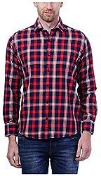 PRIknit Men's Casual Shirt (AF-S3-NR, Red, 44)