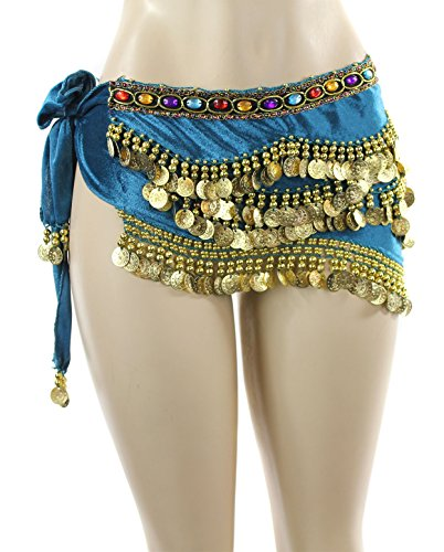 Teal Gold Coins Velvet Rave EDC Belly Dance Skirt Hip Scarf Costume 193 coins