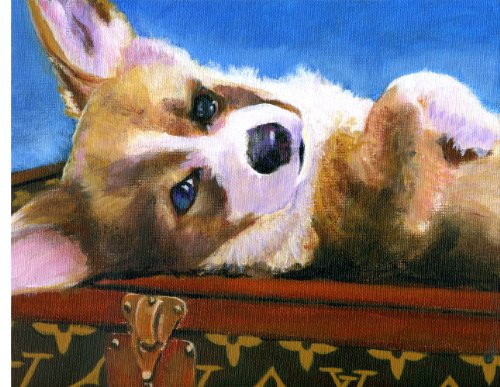 Corgi Louis Vuitton Painting Handbag Giclee Print