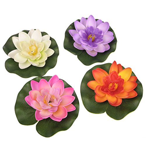 Oneplus floating pond decor water lily lotus foam flower for Pond decorative accessories