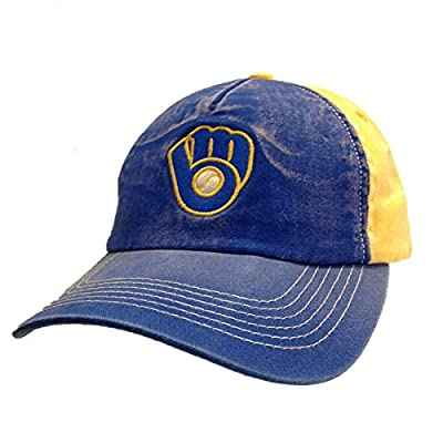 Milwaukee Brewers American Needle Blue Gold Worn Adjustable Snapback Hat Cap