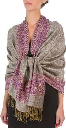 "70 x 28"" Border Pattern Double Layer Woven Pashmina Shawl / Scarf / Wrap / Stole - Black Ivory"""