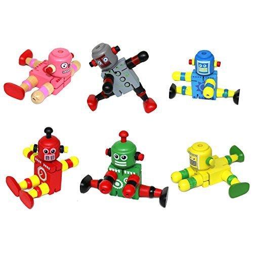 set-of-6-assorted-colour-wooden-flexi-retro-robot-toys