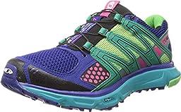 Salomon Women\'s XR Mission W Trail Running Shoe,Blue/Emerald Green/Hot Pink,11 M US