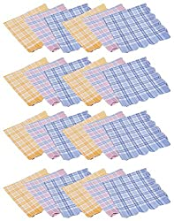 Gumber Pack of 24 Multicolored Checkered Handkerchiefs (GE_KTEX_CHECK_24PC)