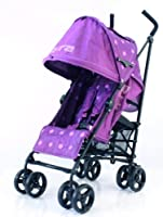 BUGGY STROLLER PUSHCHAIR WITH LARGE SUN CANOPY HOOD - ZETA VOOOM - Plum Dots with Rain Cover by Baby Travel