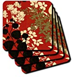 3dRose Cst_101766_1 Picture Of Painted Asian Red N Gold Floral Pattern Soft Coasters, Set Of 4