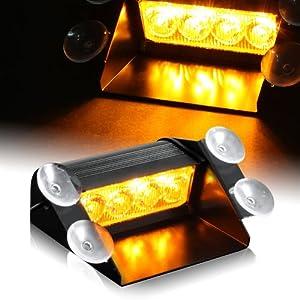 Amber Generation 3 LED Hazard Warning/Construction Use Strobe Lights For Interior Roof / Dash / Windshield