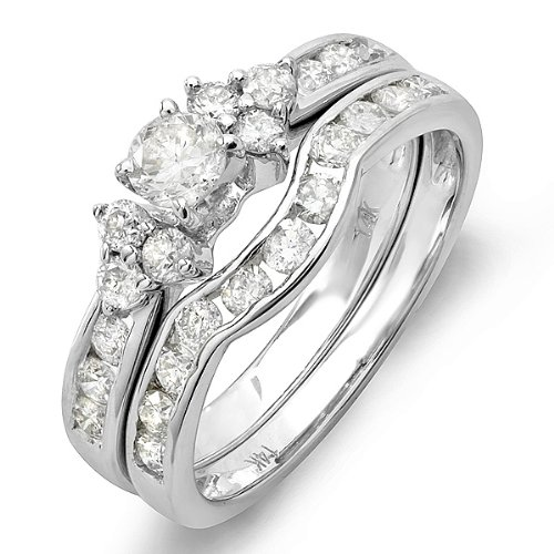 1.10 Carat (ctw) 14K White Gold Round White Diamond Engagement Bridal Ring Set