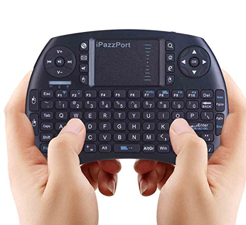 (With Backlit) iPazzPort Bluetooth Mini Wireless Keyboard and Touchpad Mouse Combo for Raspberry Pi 3 and Android Smart TV / XBMC KP-810-21SBL (Black) (Keyboard Backlit Touchpad compare prices)