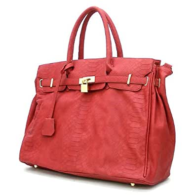 London Office Tote Croc Finish - Red