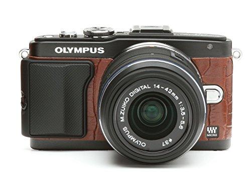 Japanhobbytool Olympus Pen E-Pl5 & E-Pl6 Camera Leather Decoration Sticker Crocodile Type 8030 Brown