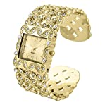 Gorgeous filagree women's cuff/bangle watch in gold tone plating
