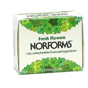 Norforms Feminine Deodorant Suppositories, Fresh Flowers, 12 suppositories