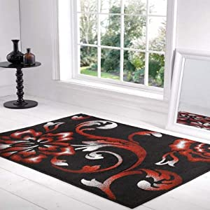 Flair Rugs Orleans Fragrance Hand Carved Rug, Black/Red, 160 x 220 Cm from Flair Rugs
