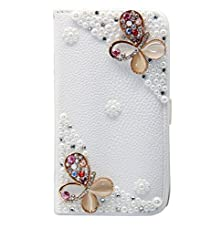 buy Iphone 5C Case, Diy Bling Crystal Rhinestone Diamond Skin Case Cover For Iphone 5C- Pu Iphone Wallet Case For Girls With Stand Dust Plug Fishbone Headphone Cable