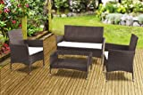 New Zante Rattan Wicker Weave Garden Furniture Patio Conservatory Sofa Set (Brown)