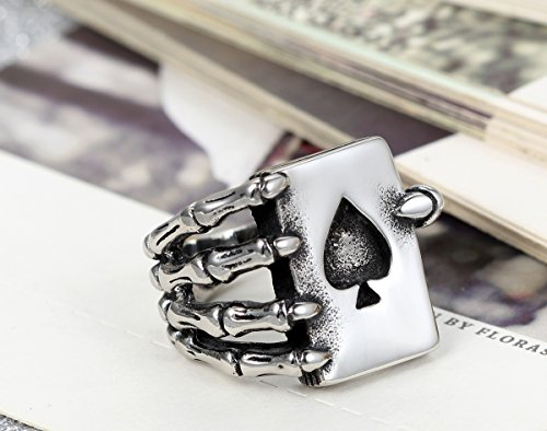 Flongo メンズ ステンレス指輪 魔手 トランプ 男子学生 リング パンク ロック アクセサリー 「14号」